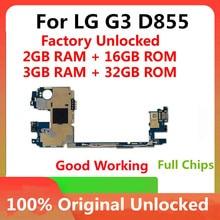 Placa base Original para LG G3 D855, 16GB, 32GB, desbloqueado de fábrica, con Chips completos, sistema operativo Android