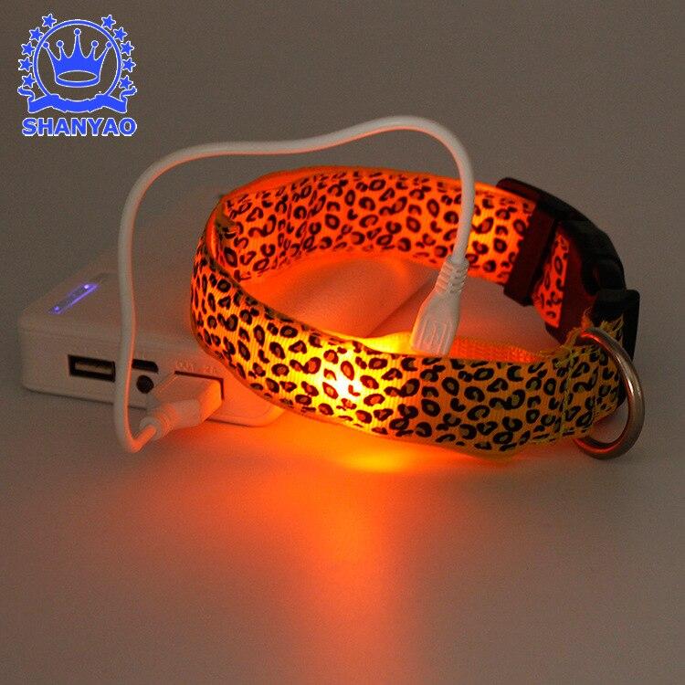 LED Neck Ring Charging LED Shining Pet Dog Collar Leopord Pattern Shining Dog Neck Ring Shine Electronic
