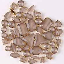 Gold claw settings 50pcs/bag shapes mix jelly candy Lt topaz glass crystal sew on rhinestone wedding dress shoes bags diy