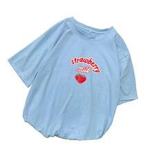 Strawberry Milk T Shirt Women Summer Harajuku Kawaii Cartoon Print Tee Shirt Femme Korean Style Casual Short Sleeve Tops Clothes