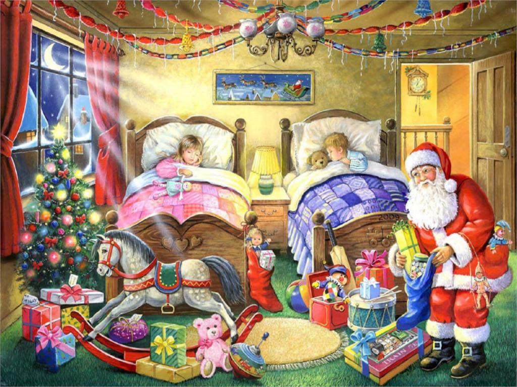 Fai da Te Disegni E Schemi per Puntocroce Diamante Babbo Natale Prepara Regali per I Bambini