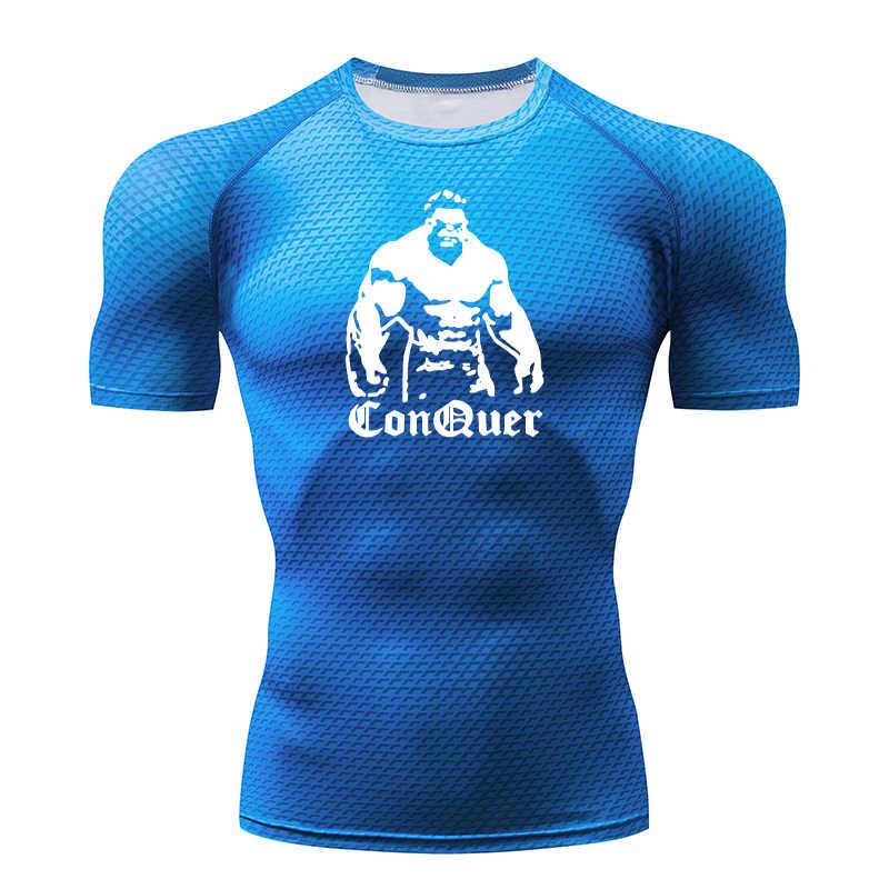 Kompresi Kemeja Pria Kamuflase Lengan Panjang Ketat T-shirt Pria Kebugaran 3D Cepat Kering Pakaian MMA K Berlaku T-shirt