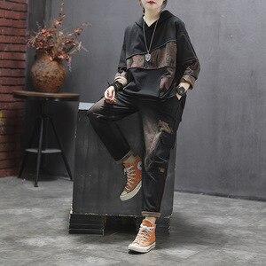Image 2 - Max LuLu 2019, корейская мода, новая осенняя одежда с надписью «женские туфли в винтажном стиле; Комплекты из двух предметов для женщин с капюшоном топы и штаны шаровары, штаны размера плюс