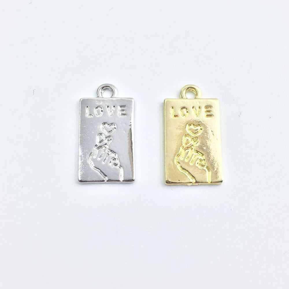 Eruifa 20pcs 10*16mm חדש אהבת הדפסת זהב/כסף מצופה אבץ סגסוגת קסמי תליון תכשיטי DIY שרשרת 2 צבעים