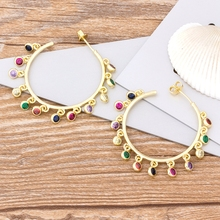 New Arrival Fashion Big Circle Drop Earrings Copper CZ Charm Bohemia Rainbow Earrings For Women Girls Best Birthday Party Gift promotion 2016 new earrings water drop shape with big cz rhodium plated women earrings