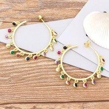 Nova chegada da moda grande círculo brincos de gota cobre cz charme bohemia arco-íris brincos para mulheres meninas melhor presente de festa de aniversário