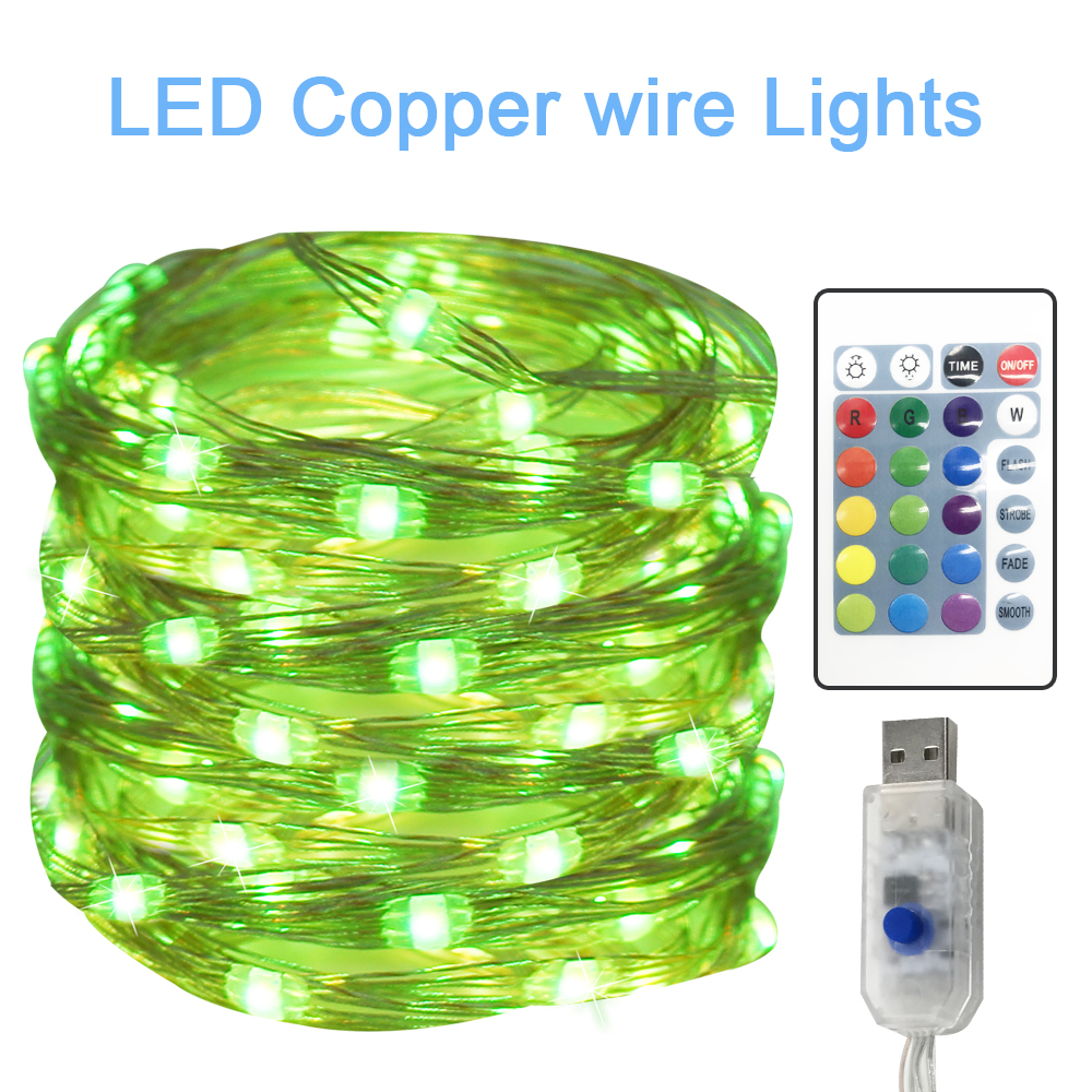 USB Led Light String Four Lines Remote Control 10M100leds Copper Wire Lamp RGB Decoration For Christmas Wedding Holiday Lantern
