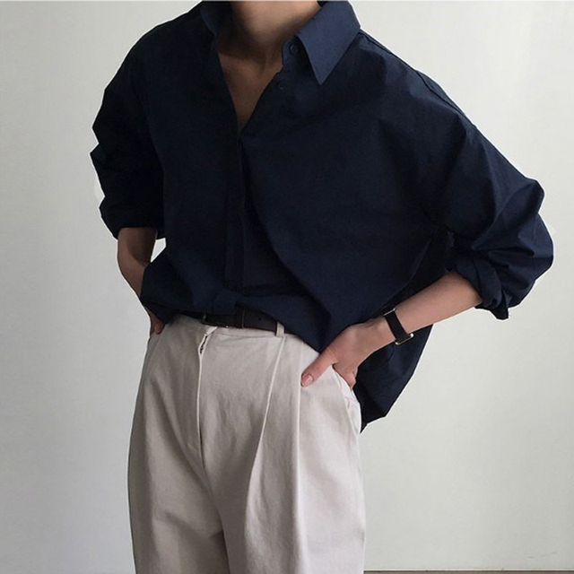 Vintage Single-breasted Solid Women Blouse 2