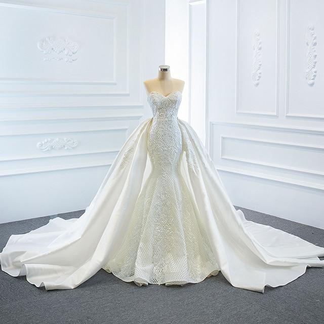 2021 New Arrivals 2 Pieces Pearls Lace Mermaid Wedding Dress With Detachable Chapel Train Vestido De Noiva Sereia 2 Em 1 1