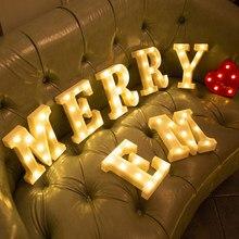 Luz del abecedario con batería para decoración, luces de fiesta, marquesina, luminosas, creativas, para Navidad, lámpara de noche interior, Letra de luz LED