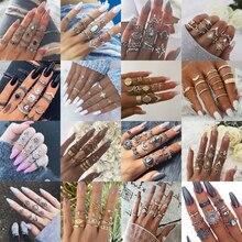 32 estilos Boho nudillo MIDI conjunto de anillos de dedo para mujer Vintage cristal elefante corona geométrica anillos de oro joyería de la muchacha