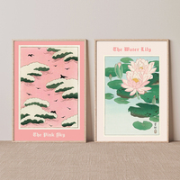Rosa Himmel Wasser Lilie Poster Drucken Vintage Japanischen Wand Kunst Abdeckung Magazin Leinwand Malerei Ausstellung Hause Dekoration Zimmer