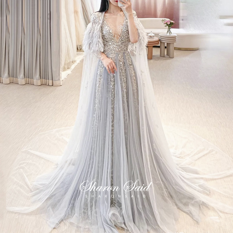 Luxury Dubai Silver Grey Evening Dresses with Feather Cape Shawl Gold Arabic Women Wedding Party Gowns Long Formal Prom Dress