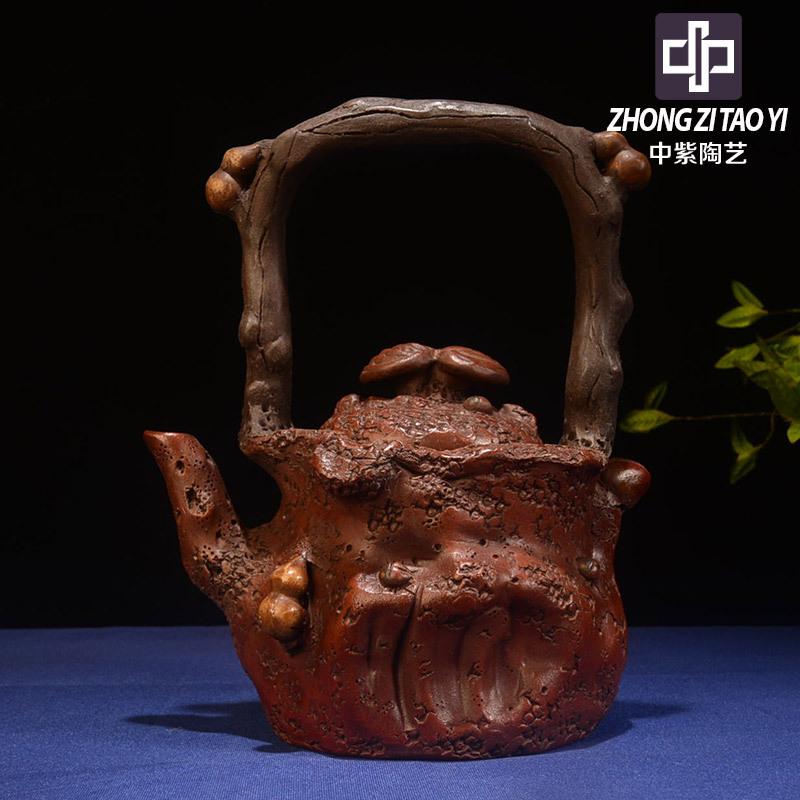 Yixing The Ming Dynasty The Cultural Revolution Kettle Old Dark-red Enameled Pottery Teapot Taiwan Backflow Imitate Old Kettle