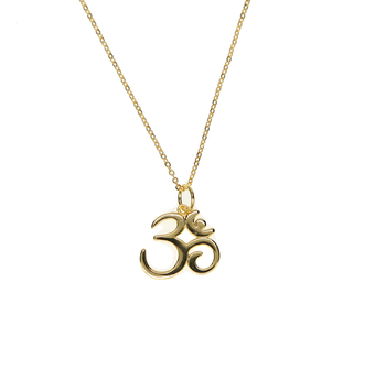 2018 fine pure 925 sterling silver 41+5cm chain high polish sparking gold color women ohm om india symbol yoga necklace