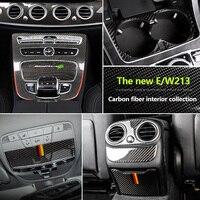 Für Mercedes Benz W213 E300 E200 E320 Neue E Klasse Carbon Faser Dekoration 3D Aufkleber Getriebe Ait Outlet Vent Tasse halter Panel
