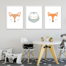 Wall Art Canvas Painting Woodland Animal Fox Owl Children Poster Nursery Print Nordic Kids Decoration Picture Baby Bedroom Decor недорого