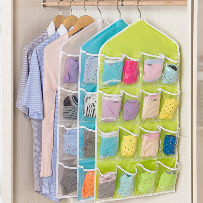 Hanging Organizer Bag - Closet Wardrobe Door Storage Holder Bag with 16 Pockets Bedroom Socks Toys Home Sundries Rack Bag