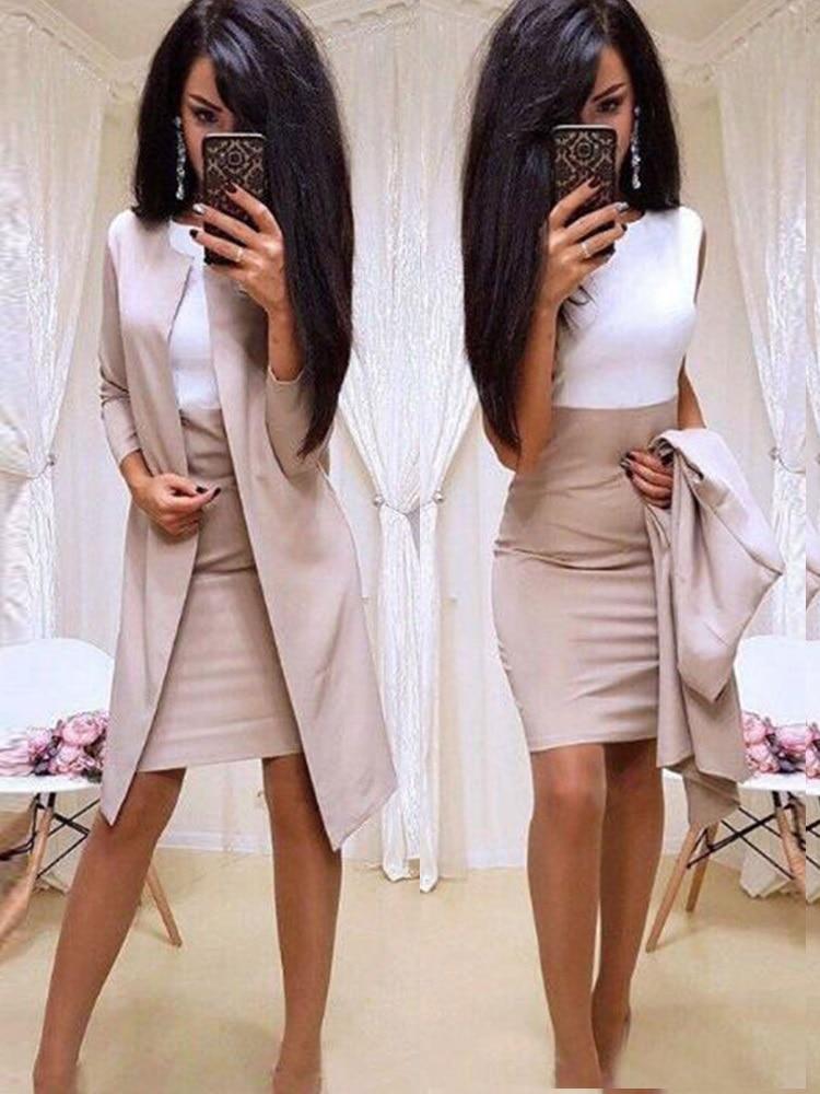 2019 New Suits Office Lady Formal Dress  Business Wear Women Long Blazer Jacket Sheath Dress 2 Piece Women's Sets