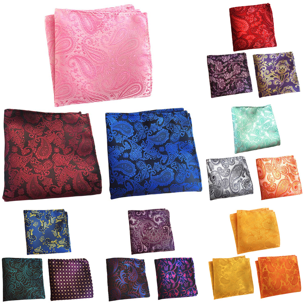 3 Packs Men Paisley Floral Pocket Square Handkerchief Wedding Party Hanky