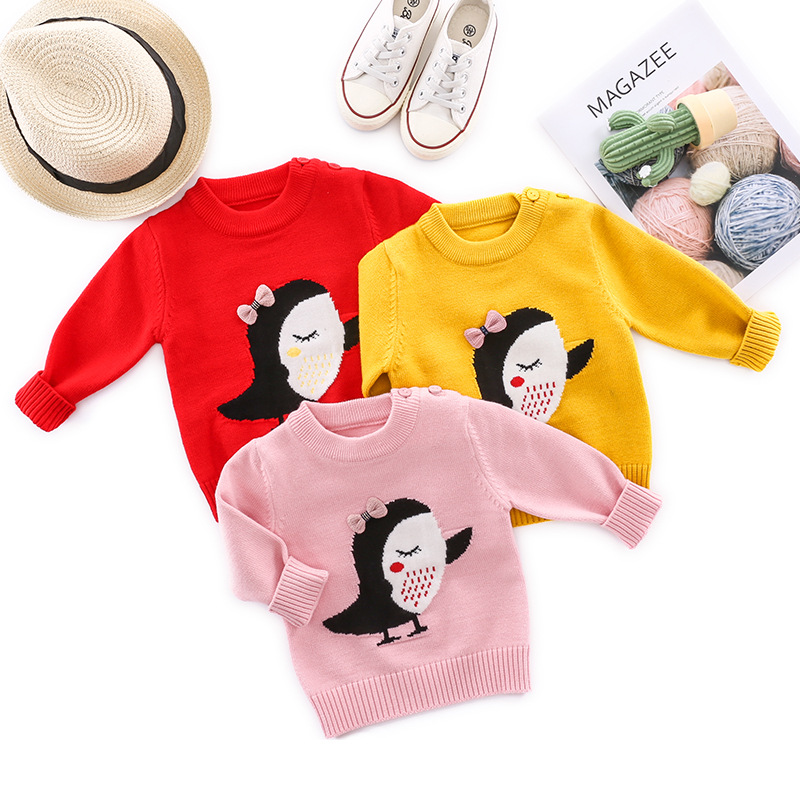 Infant Sweater Korean-style GIRL'S Coat Baby Autumn And Winter Base Knitted Sweater Meng CHILDREN'S Sweater