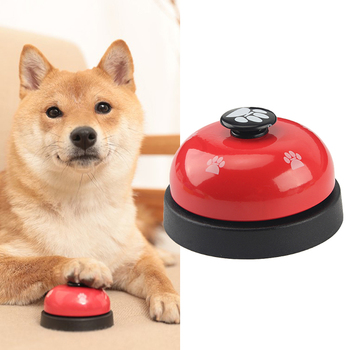 1pc Dog Training Bell Paw Print Pet Dinner Bell Dog Training Clicker Puppy Cat Dinning Call Ring Pet Training Playing Toys