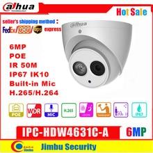 Dahua 6MP IP 카메라 POE IPC HDW4631C A 4MP IPC HDW4433C A IR50M H.265 내장 마이크 IP67 CCTV 돔 보안 카메라 지원