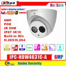 Dahua  6MP IP camera POE IPC HDW4631C A  4MP  IPC HDW4433C A IR50M  H.265 support  Built in MIC IP67 CCTV Dome security Camera
