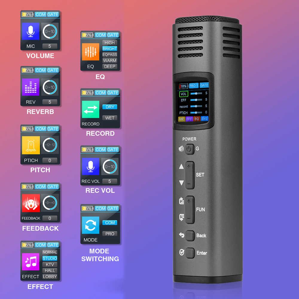 Micrófono inteligente DSP Lannge HK-620 multifuncional, micrófono para teléfono móvil con tarjeta de sonido USB, pantalla LCD colorida