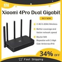 Xiaomi Mi Router 4 Pro 4Pro Gigabit Dual-Band 1317Mbps 2.4G/5.0GHz Router Wireless ripetitore Wifi con 5 antenne ad alto guadagno IPv6