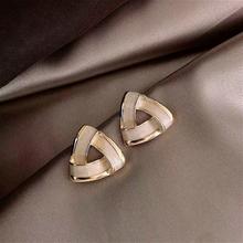 Luksusowe emalia geometryczne kolczyki biżuteria kobiety dziewczęta elegancki złoty kolor małe kolczyki modne dodatki Boucle D #8217 oreille tanie tanio jiaoyu Ze stopu cynku GEOMETRIC TRENDY Metal E3538 Push-powrotem