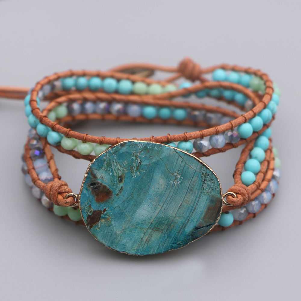 EDOTHALIA Trendy Big Blue Ocean Stone Charm Leather Bracelet For Women Girls Handwoven Boho Friendship Bracelet