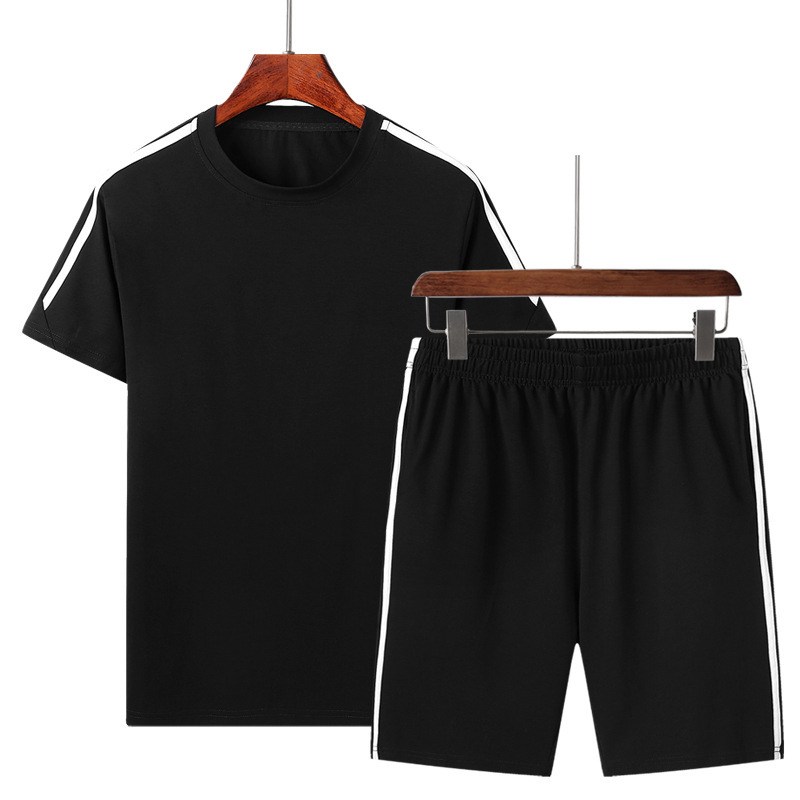 Pure Cotton Summer Three Bars Set Short Sleeve Shorts Fashion Casual Men'S Wear Sports Clothes Two-Piece Set Summer Running