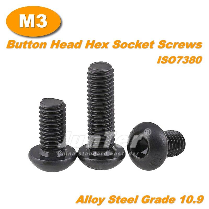 500 sztuk/partia M3 (3mm) czarne aluminium stali nierdzewnej Grade10.9 wysoka wytrzymałość śruby imbusowe łeb wypukły gniazdo śruby mocujące metryczne ISO7380
