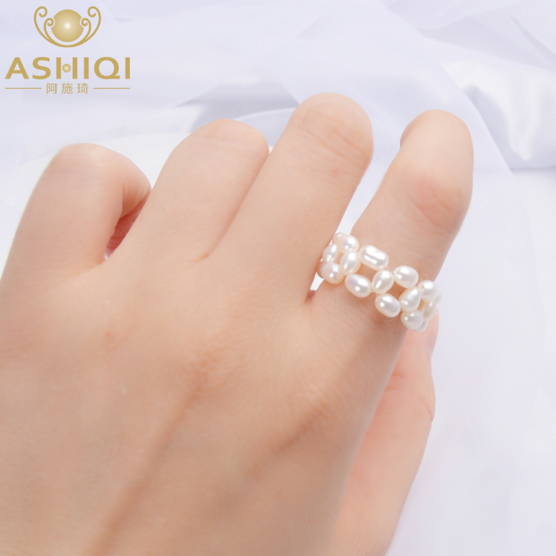 ASHIQI Real Natural Freshwater Pearl Rings For Women Wedding Gift Fishing Line Braided Hand Jewelry