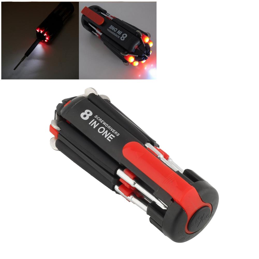 <font><b>8</b></font> <font><b>in</b></font> <font><b>1</b></font> Portable <font><b>Screwdriver</b></font> with 6 LED Torch Light Multi-functional <font><b>Flashlight</b></font> image