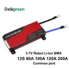Paquete de batería de iones de litio de 3,7 V, paquete de batería de iones de litio de 12S 80A 100A 120A 150A 200A 250A 36V PCM/PCB/BMS para 50,4 V 18650 V LiNCM
