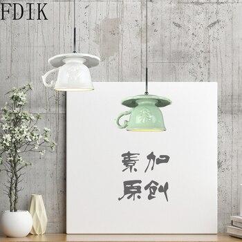 Nordic Creative Cup Pendant Lights for Coffee Kitchen Vintage Decor Lighting Fixture Loft Hanging Lamp Led Luminaire Suspension