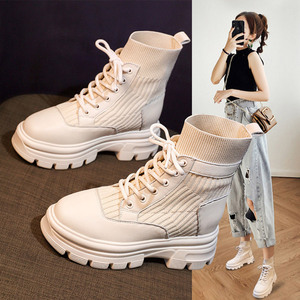 Real Soft Leather Nude Boots Women's British Style Autumn And Winter 2020 New Casual Women's Shoes Short boots Women Fashion