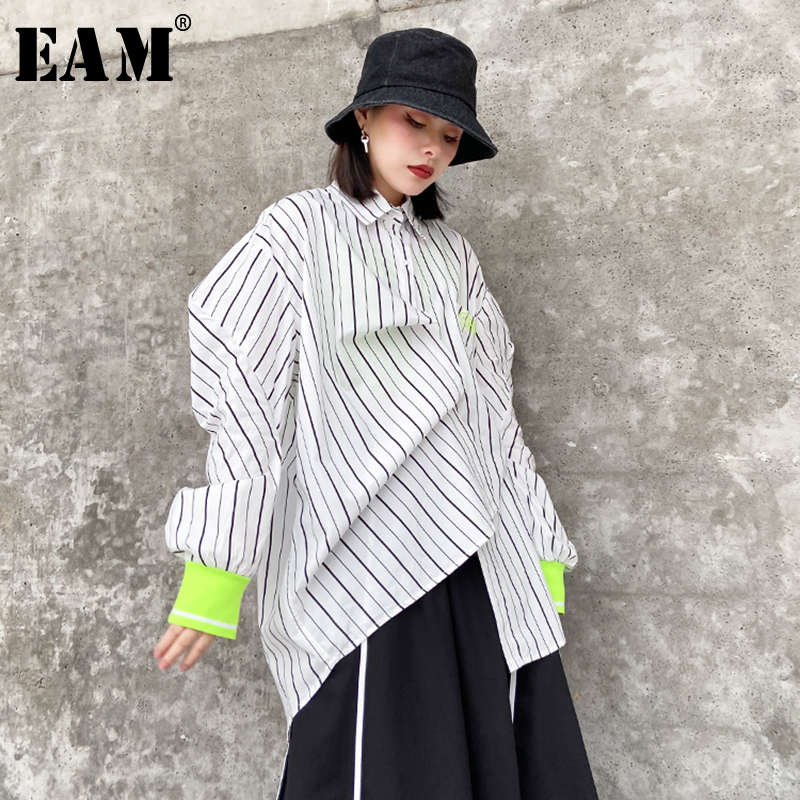 [EAM] Women White Letter Printed Striped Big Size Blouse New Lapel Long Sleeve Loose Fit Shirt Fashion Spring Autumn 2020 1S298