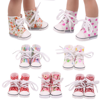 Doll Shoes Clothes 5Cm High-top Canvas Shoes Boots For 14.5 Inch Nancy American Doll&BJD EXO Doll Our Generation Girl`s Toy Gift image