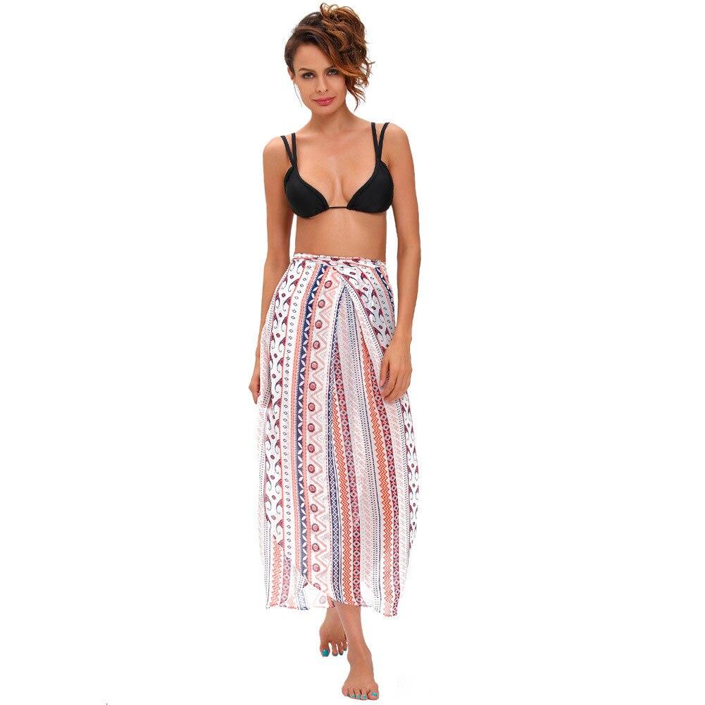 Pa Meng Maxi Beach Skirt Gorgeous Colorful Nation Printed Chiffon High-waisted Irregular Skirt 42061