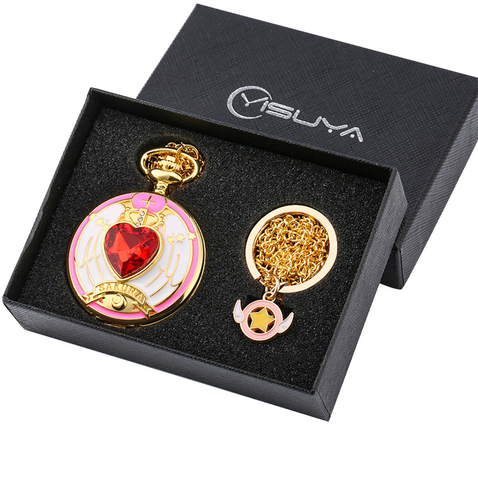 Hot Japanese Card Captor Sakuras Theme Quartz Pocket Watches Box Set Vintage Pendant Watch Gifts For Kids Girls Necklace Pendant