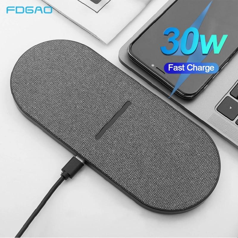 2 en 1 30W Double siège Qi chargeur sans fil pour Samsung S20 S10 Double chargeur rapide pour iPhone 12 11 XS Max XR X 8 Airpods Pro