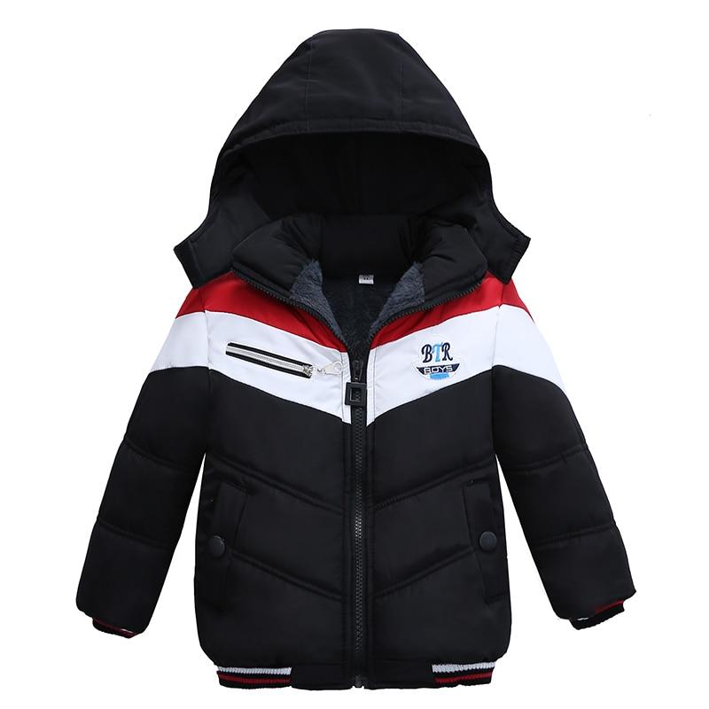 Christmas Patchwork Boys Jacket Outwear Warm Hooded Winter Jackets for Boy Girls Coat Children Parka Clothing Coat Windproof 4