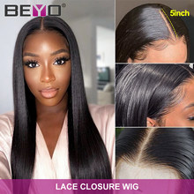 250 Density Lace Wig Straight Human Hair 4x4 Lace Closure Wig Pre Plucked With Baby Hair For Black Women Brazilian Remy Wigs