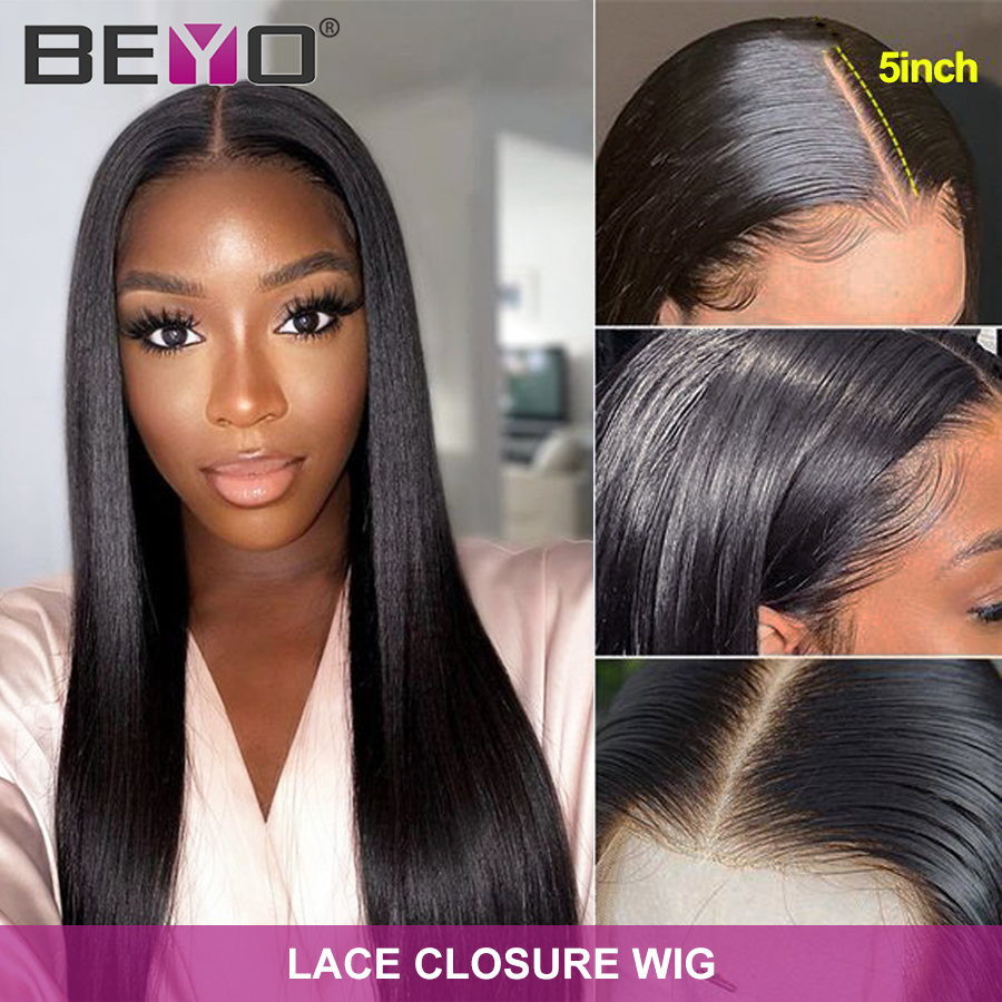 Brazilian 4x4 Closure Wig Pre Plucked With Baby Hair Straight Human Hair Wigs For Women 5x5 Lace Closure Wig Beyo Remy Lace Wig