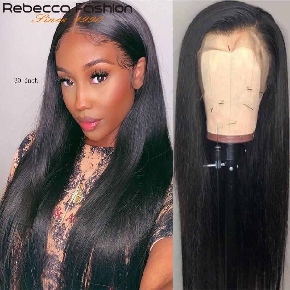 Rebecca, 30 дюймов, парик, прозрачный, на шнуровке, парик, прямые человеческие волосы, парики для женщин, 13x4, фронтальный парик, длинные прямые вол...
