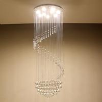 Espiral moderna led luzes de teto cristal grande escada interior lustres montagem embutida longa escada lâmpadas luminárias do hotel