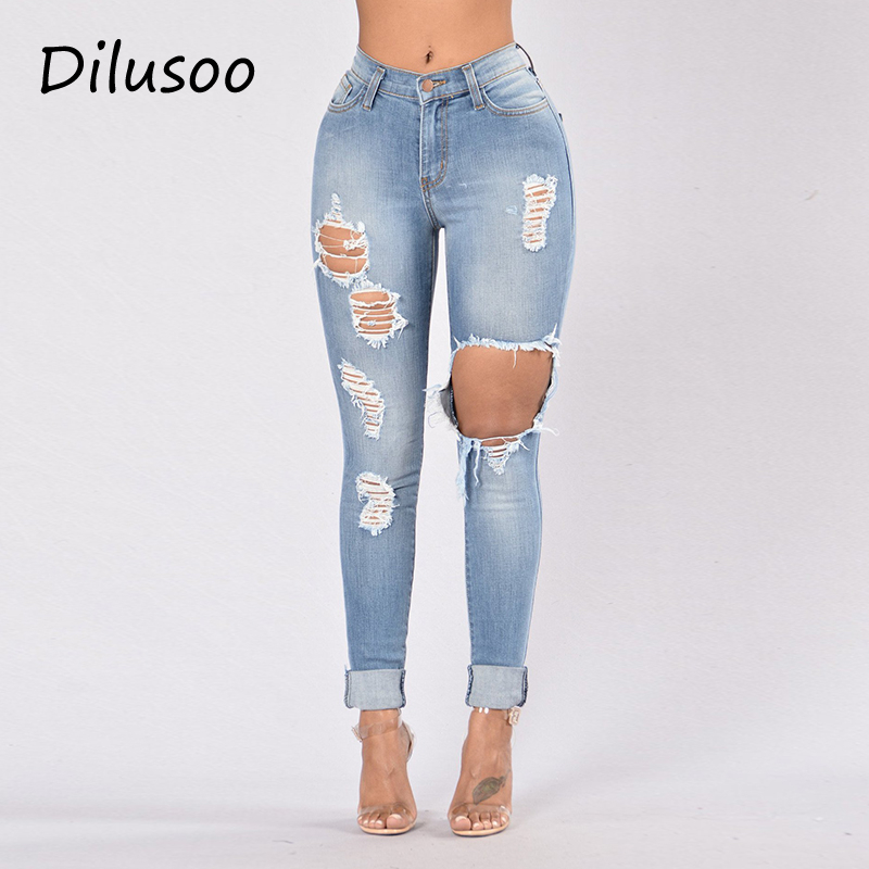 Dilusoo Women High Waist Jeans Pants Elastic Holes Denim Jeans 4 Season Pencil Pants Woman Casual Skinny Ripped Jeans Trousers